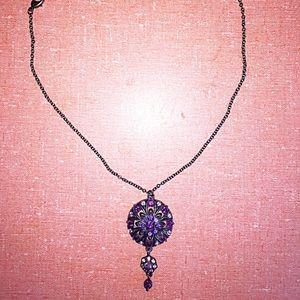 "Jewelry - Purple rhinestone 16"" necklace"